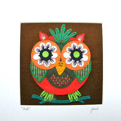 Designed by Jane Framed Owl